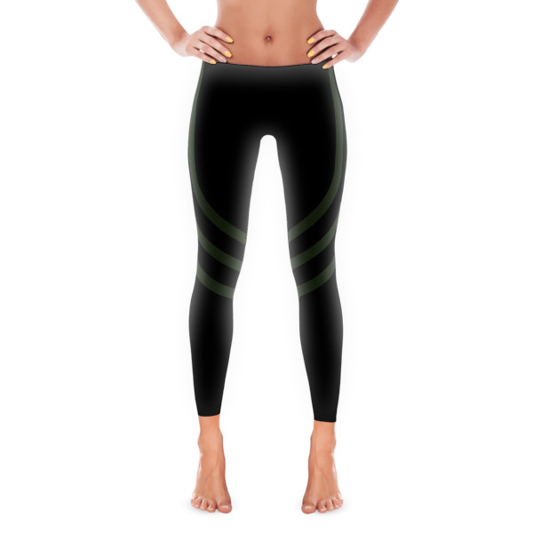 Black + Army Green Track Leggings