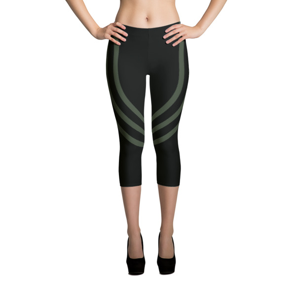 Black + Army Green Track Capris
