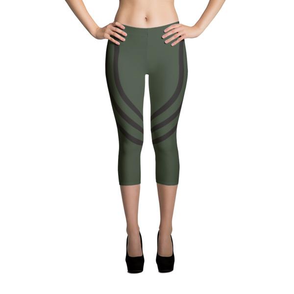 Track Army Green Capri Leggings